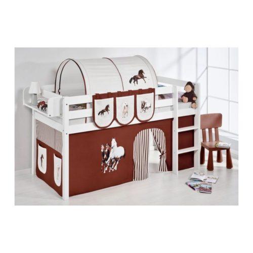 comprar cama bali con cortinas caballo marron y somier