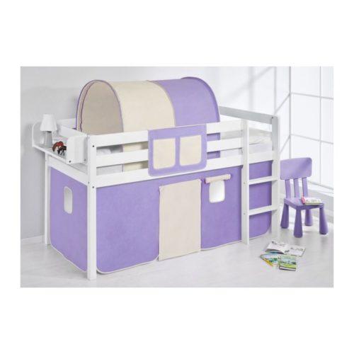 comprar cama bali con cortinas lila beige y somier