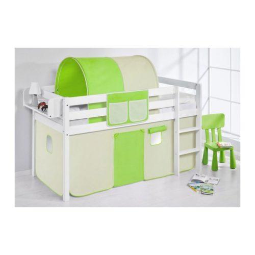 comprar cama bali con cortinas verde beige y somier