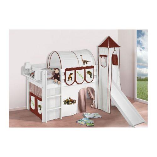 comprar cama bali con tobogan cortinas dinosaurio marron y somier