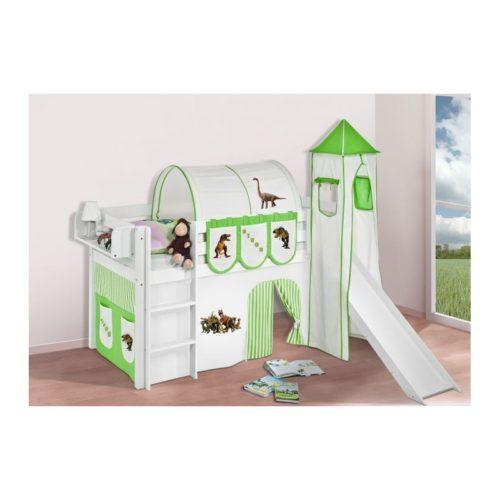 comprar cama bali con tobogan cortinas dinosaurio verde y somier