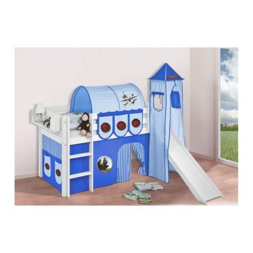 comprar cama bali con tobogan cortinas dragon azul y somier