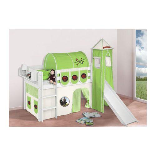 comprar cama bali con tobogan cortinas dragon verde y somier