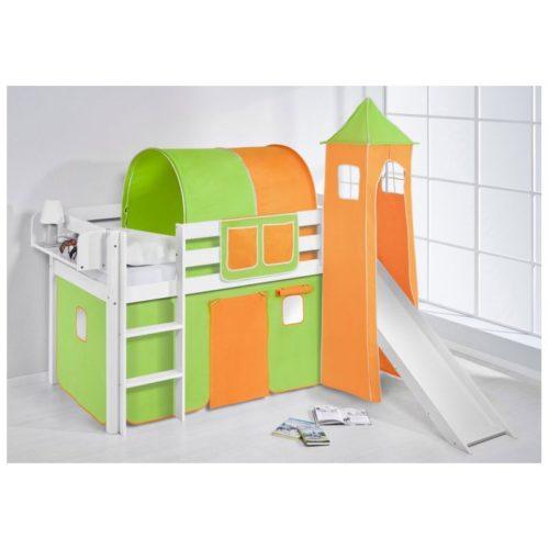 comprar cama bali con tobogan cortinas verde naranja y somier-2