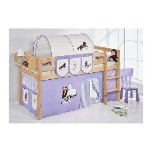 comprar cama bali natural con cortinas caballo lila y somier