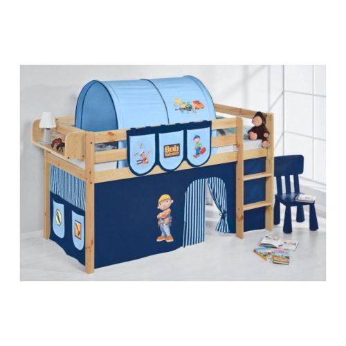 comprar cama bali natural con cortinas chico bob azul y somier