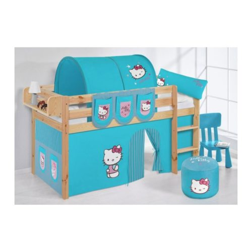 comprar cama bali natural con cortinas hello kitty azul y somier