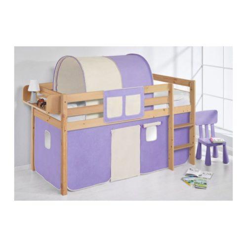 comprar cama bali natural con cortinas lila beige y somier