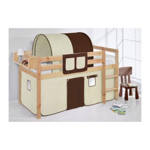 comprar cama bali natural con cortinas marron beige y somier