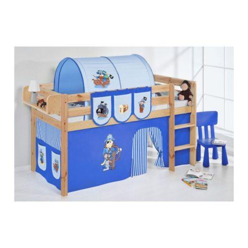 comprar cama bali natural con cortinas pirata azul y somier