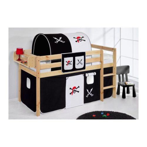 comprar cama bali natural con cortinas pirata blanco negro y somier