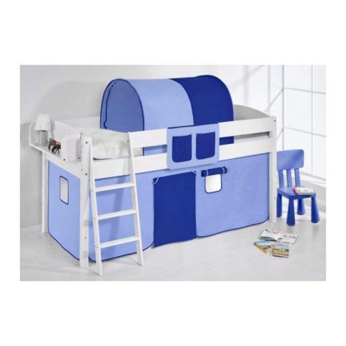 comprar cama corcega con cortinas azul claro azul oscuro y somier