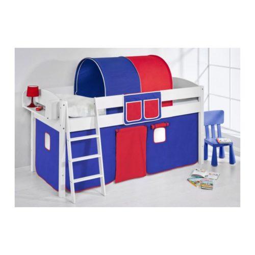 comprar cama corcega con cortinas azul rojo y somier