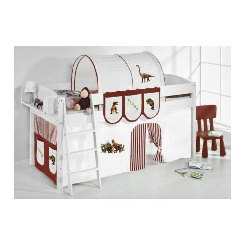 comprar cama corcega con cortinas dinosaurio marron y somier