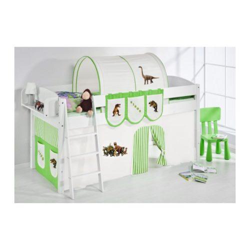 comprar cama corcega con cortinas dinosaurio verde y somier