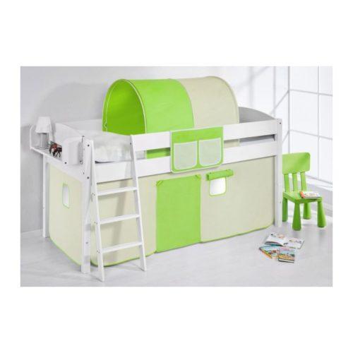 comprar cama corcega con cortinas verde beige y somier