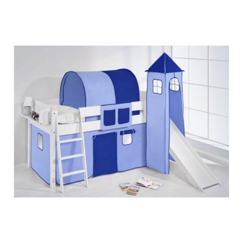 comprar cama corcega con tobogan cortinas azul claro azul oscuro y somier