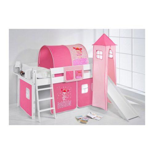 comprar cama corcega con tobogan cortinas bailarina rosa y somier