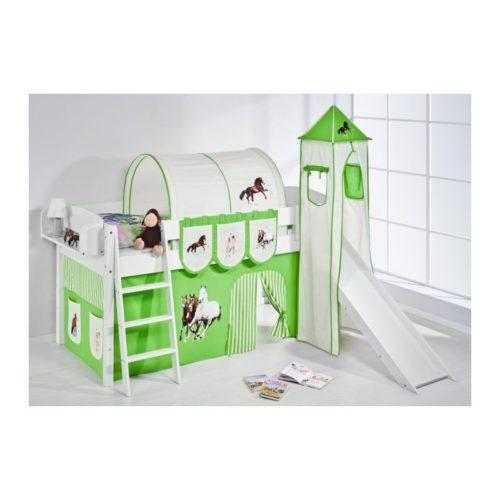 comprar cama corcega con tobogan cortinas caballo verde y somier