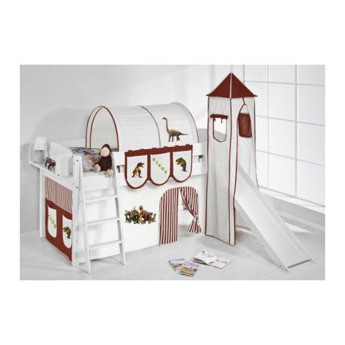comprar cama corcega con tobogan cortinas dinosaurio marron y somier