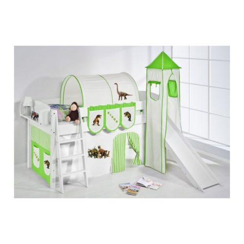 comprar cama corcega con tobogan cortinas dinosaurio verde y somier