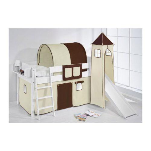 comprar cama corcega con tobogan cortinas marron beige y somier
