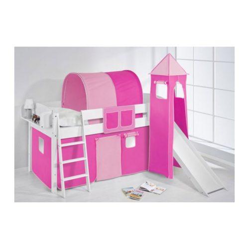 comprar cama corcega con tobogan cortinas rosa pink y somier