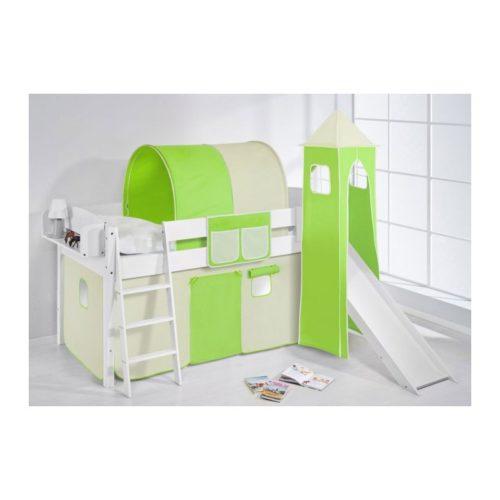 comprar cama corcega con tobogan cortinas verde beige y somier