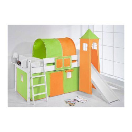 comprar cama corcega con tobogan cortinas verde naranja y somier