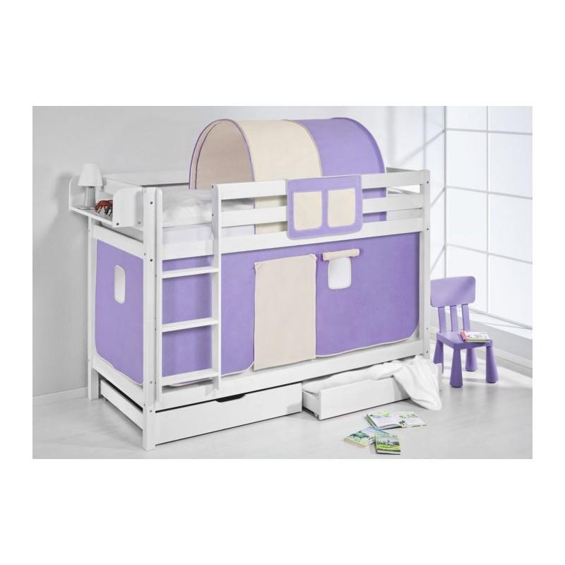 comprar litera capri con cortinas lila beig-y-somieres