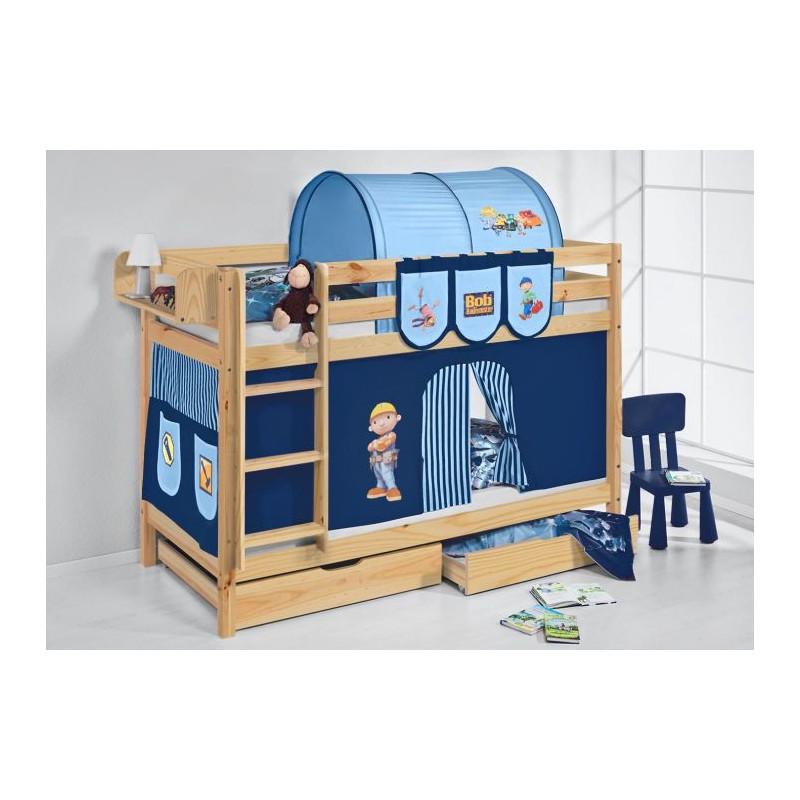 comprar litera capri natural con cortinas chico bob azul y somieres
