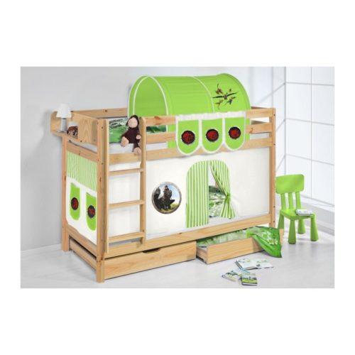 comprar litera capri natural con cortinas dragon verde y somieres
