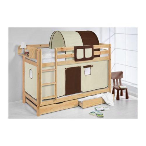 comprar litera capri natural con cortinas marron beige y somieres