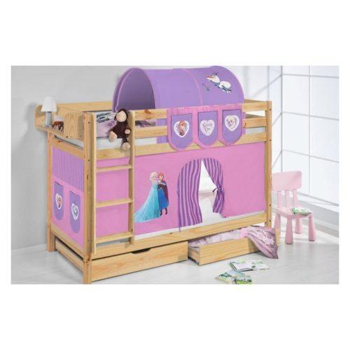 comprar litera capri natural con cortinas personajes y somieres-3