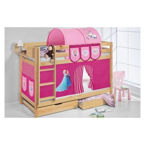 comprar litera capri natural con cortinas personajes y somieres-4