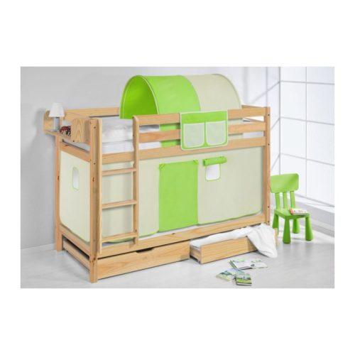 comprar litera capri natural con cortinas verde beige y somieres