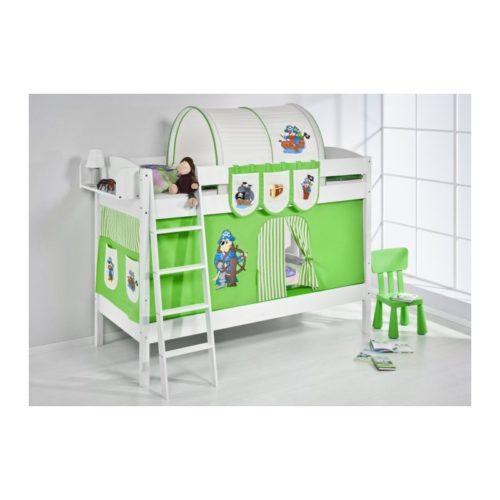 comprar litera creta con cortinas pirata verde y somieres
