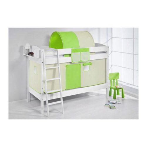 comprar litera creta con cortinas verde beige y somieres