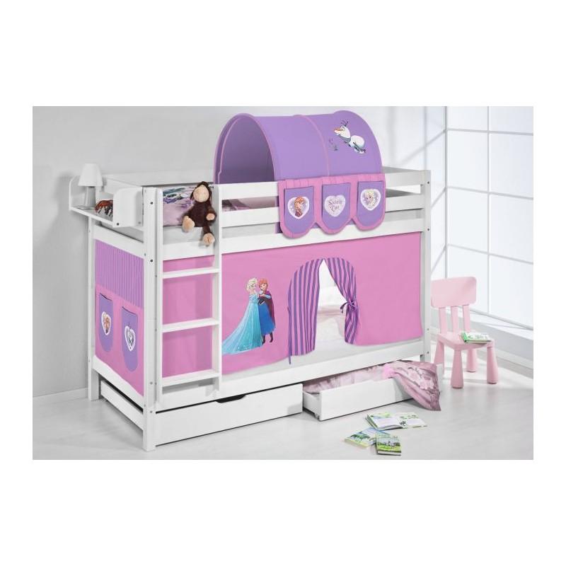 comprar litera frozen lila con cortinas y somieres