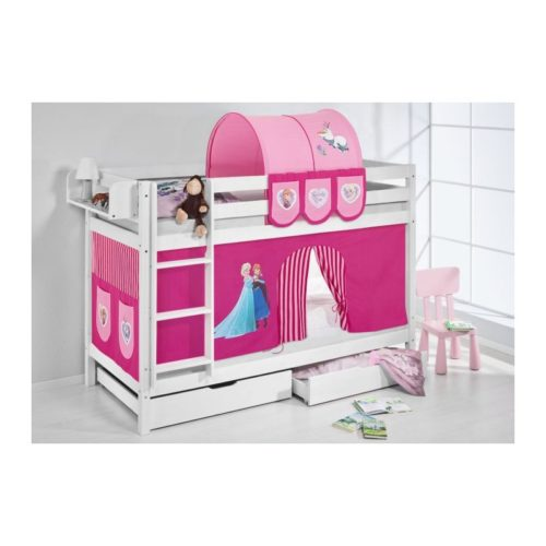 comprar litera frozen rosa con cortinas y somieres