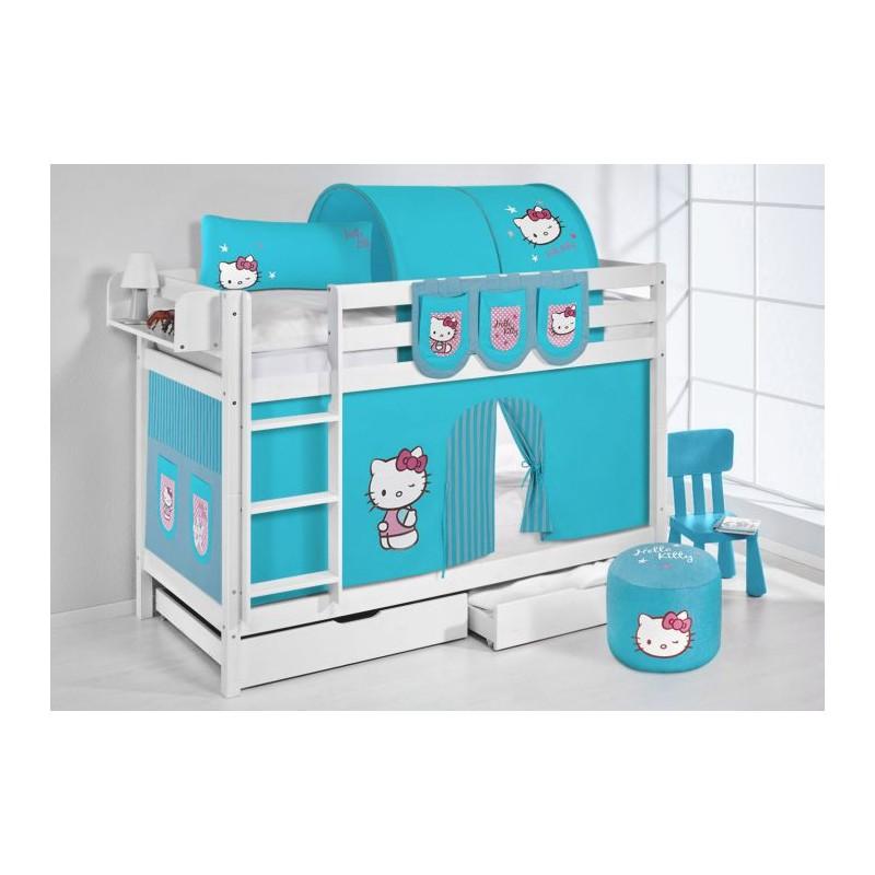 comprar litera hello kitty azul con cortinas y somieres