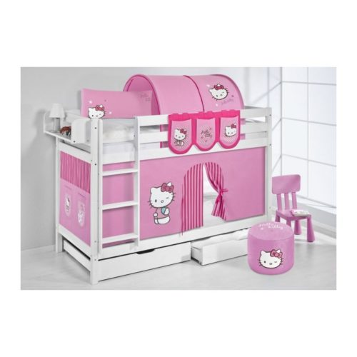 comprar litera hello kitty rosa con cortinas y somieres