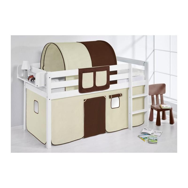 comprar cama bali con cortinas marron beige y somier