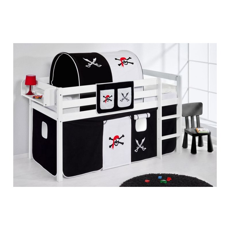 comprar cama bali con cortinas pirata blanco negro y somier