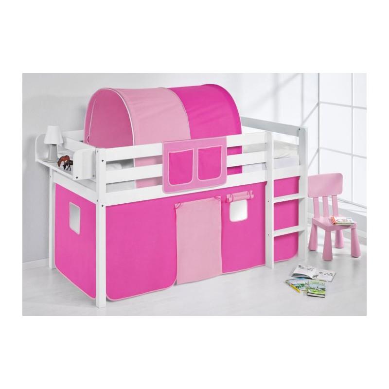comprar cama bali con cortinas rosa pink y somier