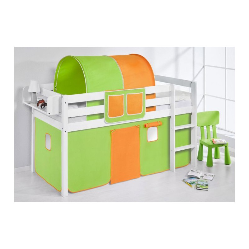 comprar cama bali con cortinas verde naranja y somier