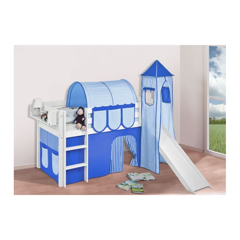 comprar cama bali con tobogan cortinas azul claro azul oscuro y somier
