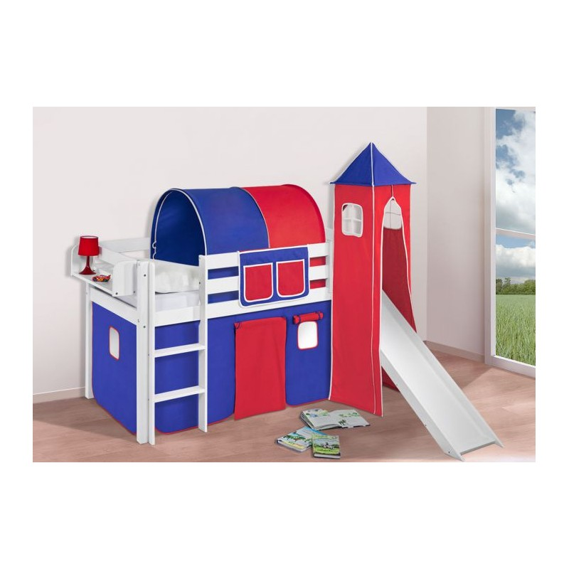 comprar cama bali con tobogan cortinas azul rojo y somier