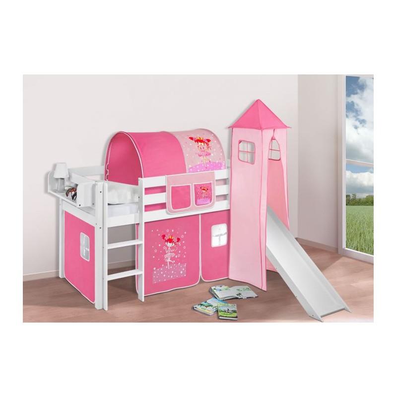comprar cama bali con tobogan cortinas bailarina rosa y somier