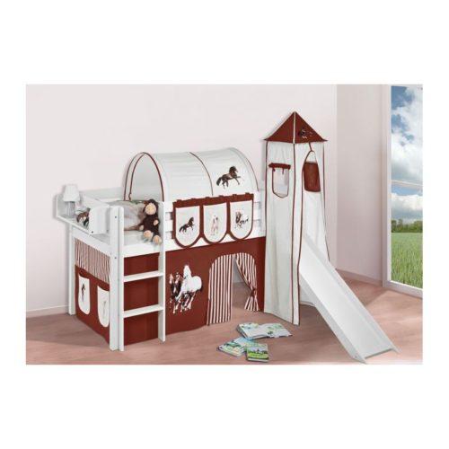 comprar cama bali con tobogan cortinas caballo marron y somier